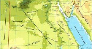 خريطة مصر الطبيعية , خريطة توضج معالم مصر