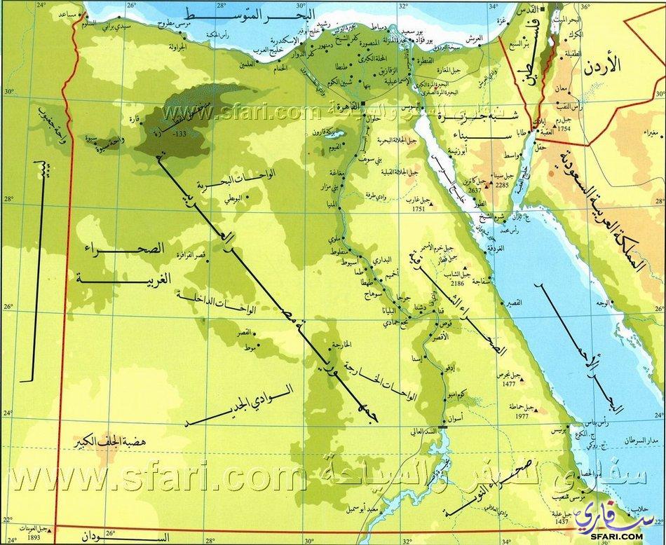 صور خريطة مصر الطبيعية , خريطة توضج معالم مصر