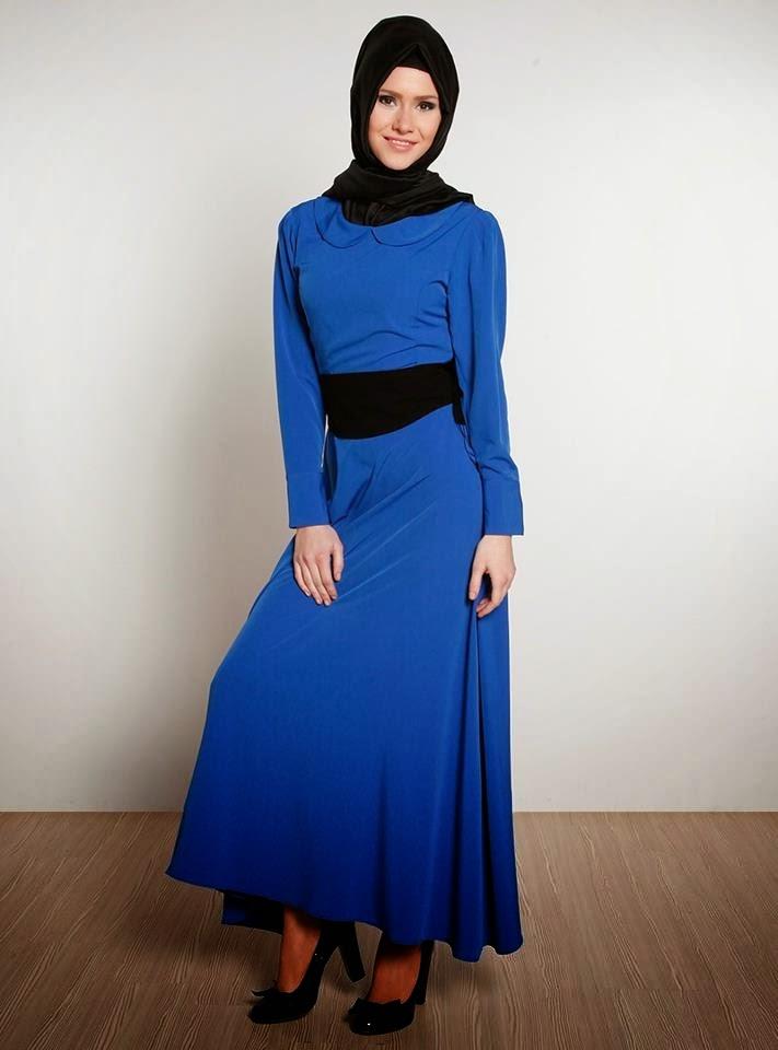 صورة فساتين محجبات قطيفه , ملابس باكمام طويلة , فساتين جميلة للحجاب 2020