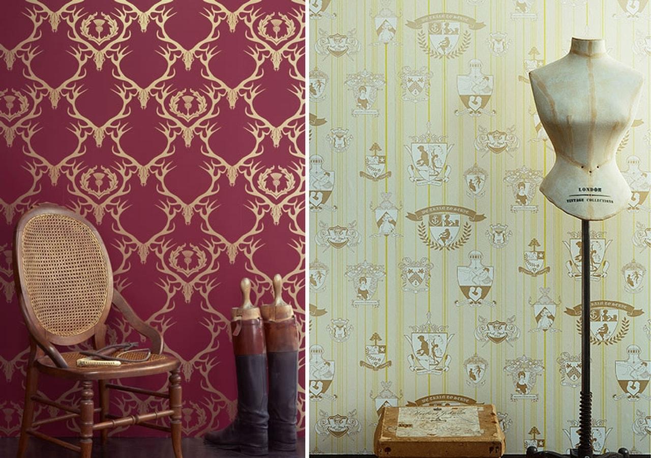 صورة اجمل ورق حائط بلون احمر وذهبي جميل جدا وخلاب للجدران 51757 1