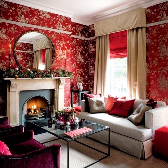 صورة اجمل ورق حائط بلون احمر وذهبي جميل جدا وخلاب للجدران 51757 3