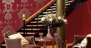صورة اجمل ورق حائط بلون احمر وذهبي جميل جدا وخلاب للجدران