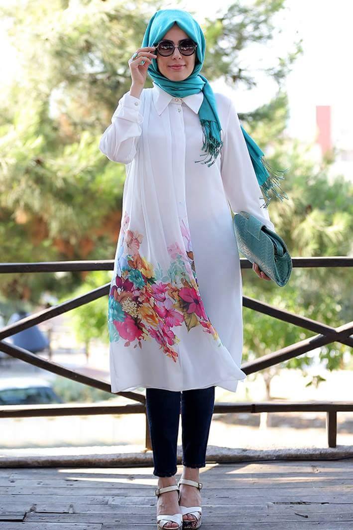 صوره ازياء حجاب صيفية 2019 , اجمل الملابس الصيفية , اجدد موضة لملابس المحجبات